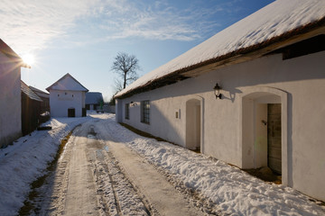 Traditional architecture in a Slovak village.