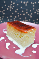 Three milk cake with caramel souce