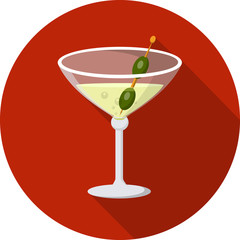 Vector Martini Glass Flat Icon