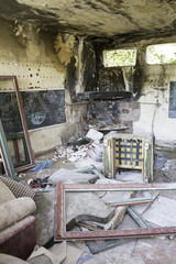 Interior burned house