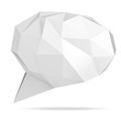 low poly geometric speech bubble on white background