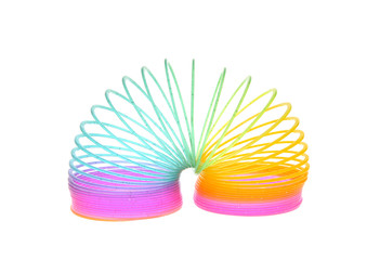Multi-Colored Rainbow Spring Toy Isolated