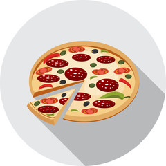 Vector Pizza with Tomato, Salami and Olives