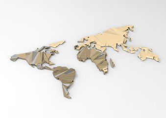 low polygon 3d world map on white background