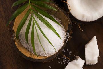 coco bath. coconut with sea salt