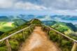 Leinwanddruck Bild - Walking path to the lakes of Sete Cidades, Azores