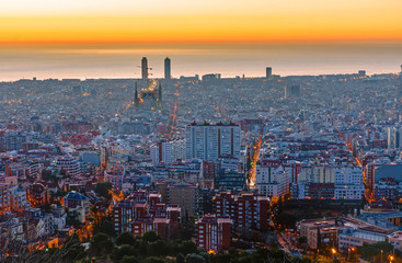 Barcelona before sunrise with the Mediterranean Sea in the back