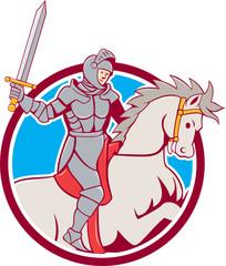 Knight Riding Horse Sword Circle Cartoon