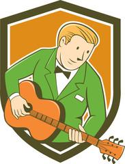 Musician Guitarist Playing Guitar Shield Cartoon
