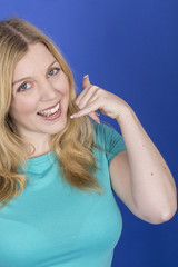 Model Released. Attractive Young Woman Mimicking Telephone Call
