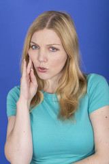 Model Released. Attractive Young Woman with Toothache