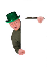 Leprechaun: Man Looking Down At White Card