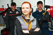 canvas print picture - female automobile auto mechanic