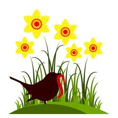 daffodils and bird