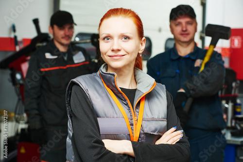 canvas print picture female automobile auto mechanic