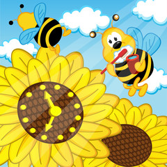 bee brushes  teeth looks at watch sunflower - eps
