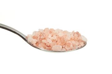 Pink Himalayan Salt on a teaspoon