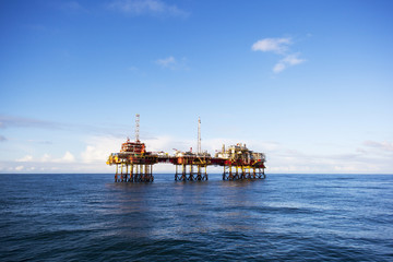 Oil platform on the North Sea at day