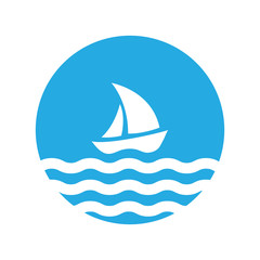 Sailing boat on the water, logo