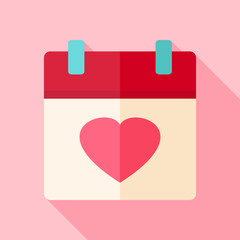 Valentine day holiday calendar with heart