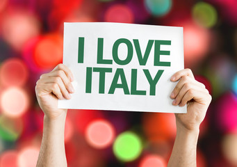 I Love Italy card with colorful background