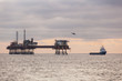 Oil platform,helicopter on the North Sea - 78073954