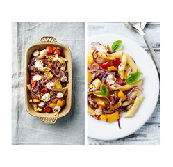 Penne pasta baked with peppers, red onion and mozzarella