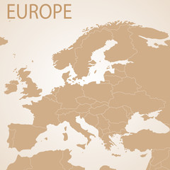Europe map brown . Vector political with state borders