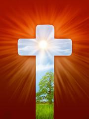 Religious illustration, cross, the light of the world