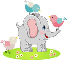 Cute Elephant with a three birds