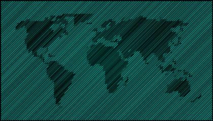 World map diagonal dark green EPS 10