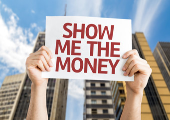 Show Me The Money card with cityscape background