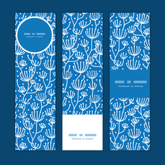Vector blue white lineart plants vertical banners set pattern