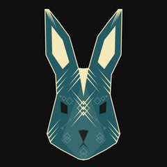Abstract geometric vector rabbit for use in design