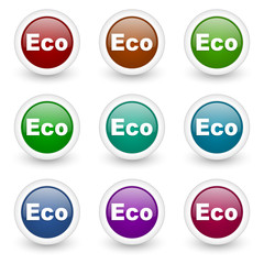 eco web icons colorful vector set