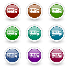 free delivery web icons colorful vector set