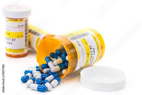 Prescription medication in pharmacy vials Plakat