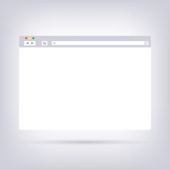 Opened browser window template on gray background