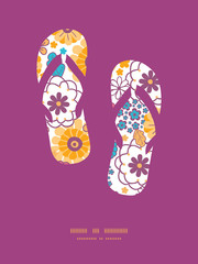 Vector colorful oriental flowers flip flops silhouettes pattern