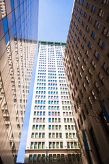 Highrise buildings in Wall Street financial district, New York