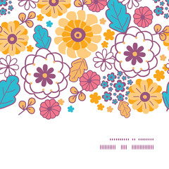 Vector colorful oriental flowers horizontal frame seamless