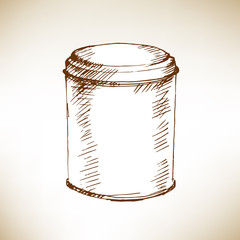 Round tin packaging. Sketch. Vector illustration.