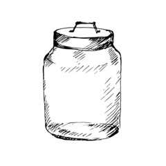 Glass jar. Sketch. Vector illustration.
