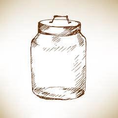 Glass jar. Sketch. Vector illustration.