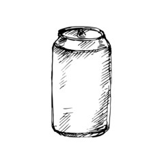 Can aluminum. Sketch. Vector illustration.