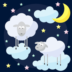 Funny vector background with cartoon moon, clouds, stars and she
