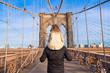 Dad and little girl on Brooklyn bridge, New York City, USA - 78077926