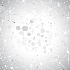 Molecules on gray background. Vector illustration