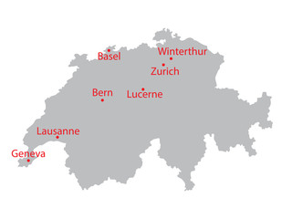 grey map of Switzerland with indication of largest cities
