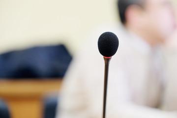 Close up of microphone in auditorium
